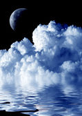 Cloud, moon and water. — Stock Photo