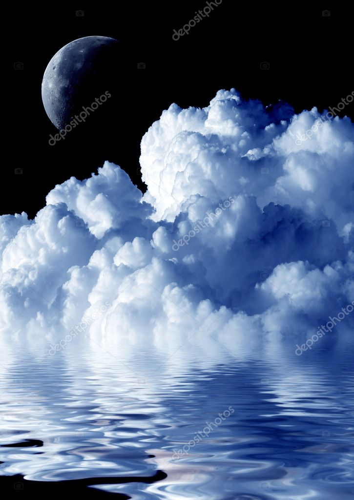 Cloud, moon and water.  Stock Photo #1555161
