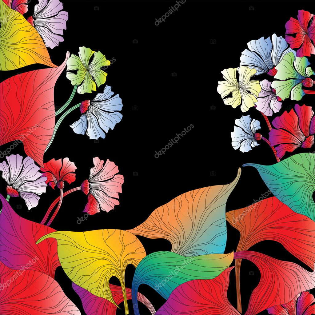 Abstract flowers on black background. — Stock Vector #1571512