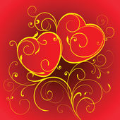 Dos corazones rojos. — Vector de stock