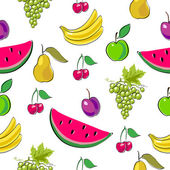 Fruits seamless background. — Stock Vector