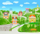 Houses on hill. — Stock Vector