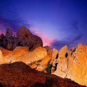 Orange rock on blue sky background. — Stock Photo