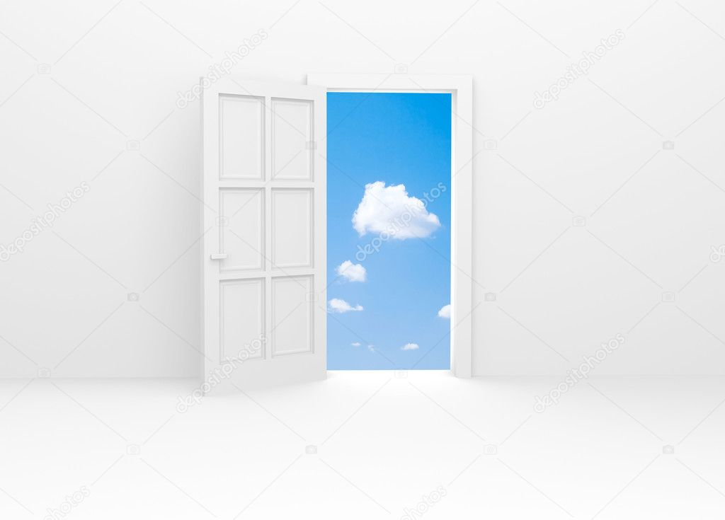 White door and blue sky. — Stock Photo #2346676