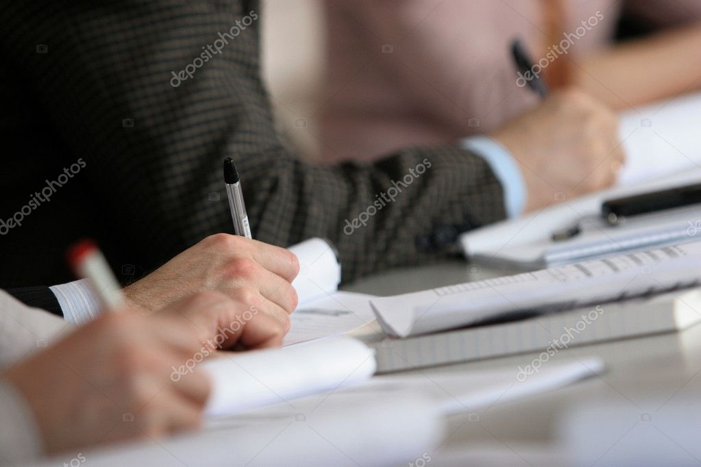 Hands make notes on a seminar — Stock Photo #1095907