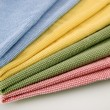 Stock Photo: Set of four color honeycomb towels