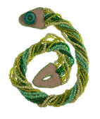 Green handmade weaved beads — Stock Photo