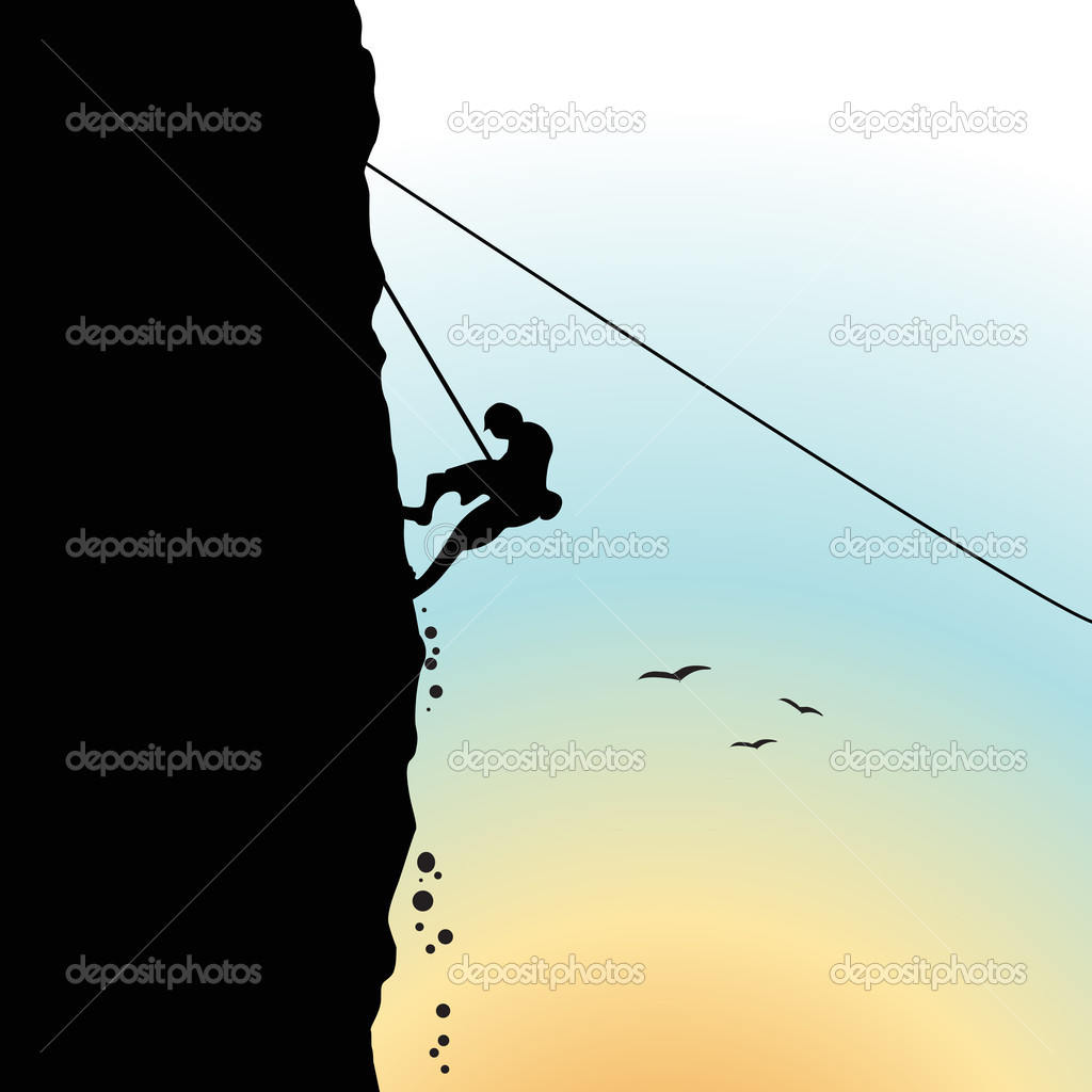 Illustration of the climber comes down. sundown. — Stock Photo #2138434