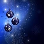 Blue christmas illustration with balls — Stock Photo