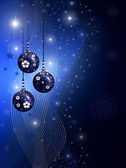 Blue christmas illustration with balls — Stock Photo