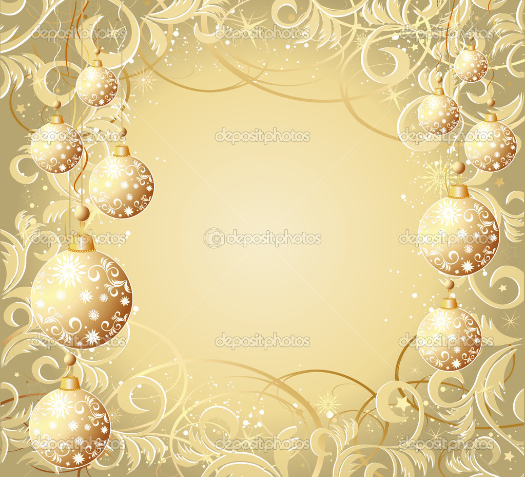 Christmas background with balls, stars and snowflakes  Stock Vector #1126458