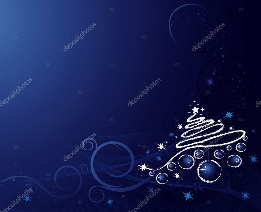 Christmas background with tree, balls, stars and ornament — Stock Vector #1154568