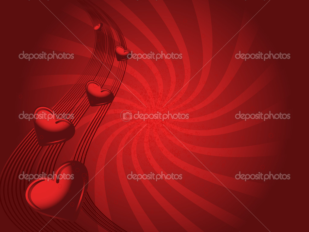 Red valentines illustraited background with hearts and wave — Stock Vector #1433284