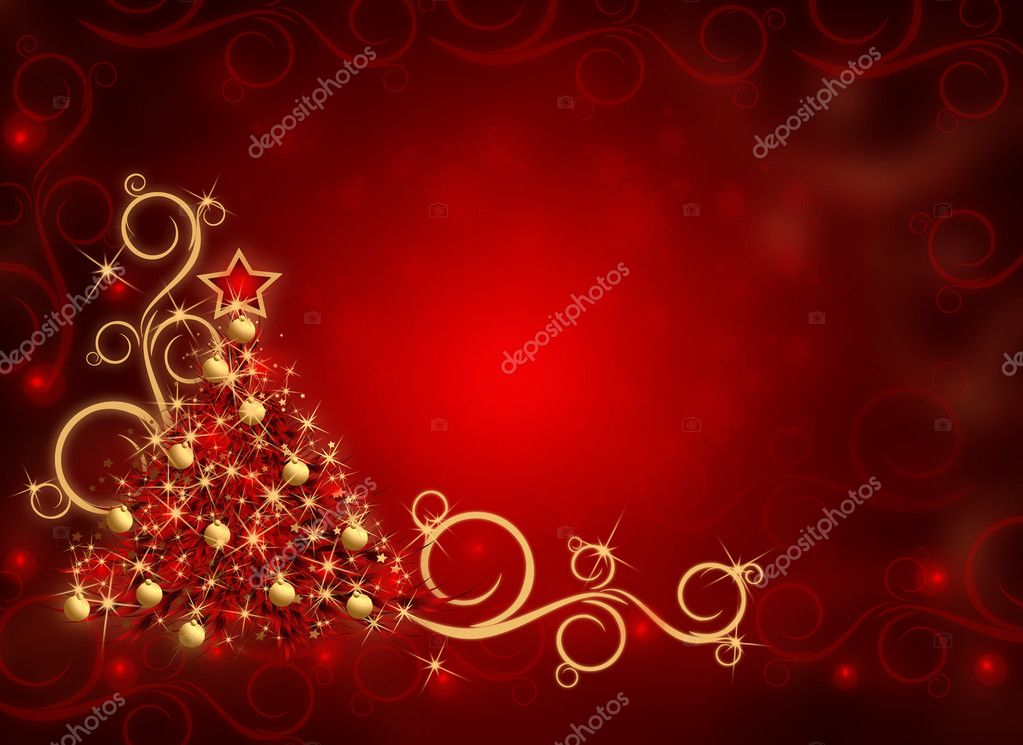 Winter red background with Christmas tree and snowflakes — Stock Photo #1451461