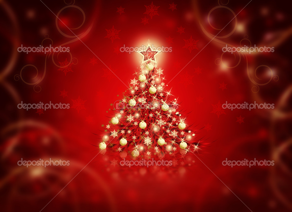 Winter red background with Christmas tree and snowflakes — Stock Photo #1451574