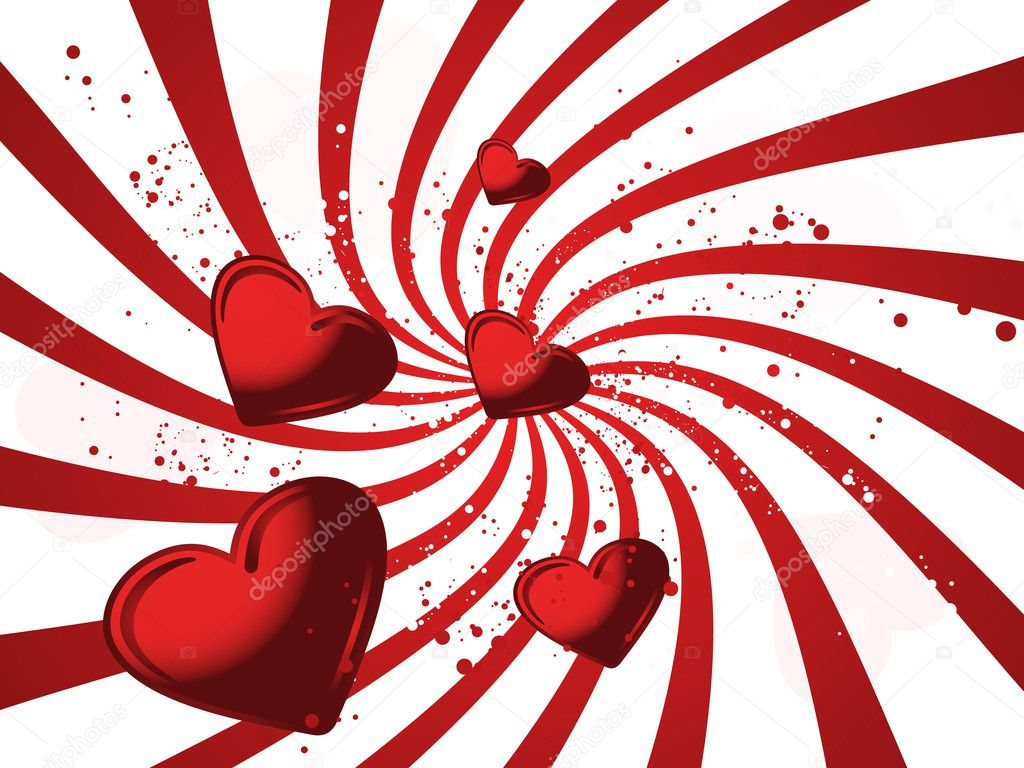 Red valentines illustraited background with hearts and wave — ベクター素材ストック #1451641