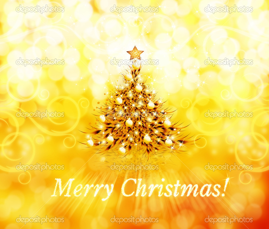 Winter yellow background with Christmas tree and stars — Stock Photo #1467134