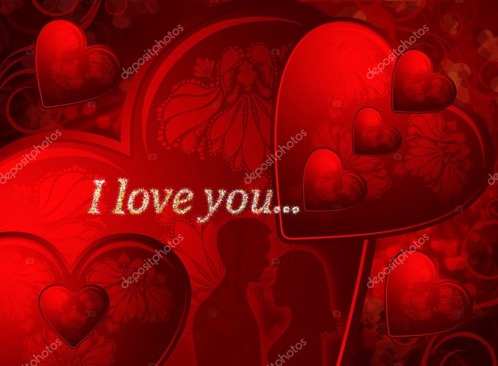 Red valentines card with two young lovers and hearts — Stock Photo #1538389