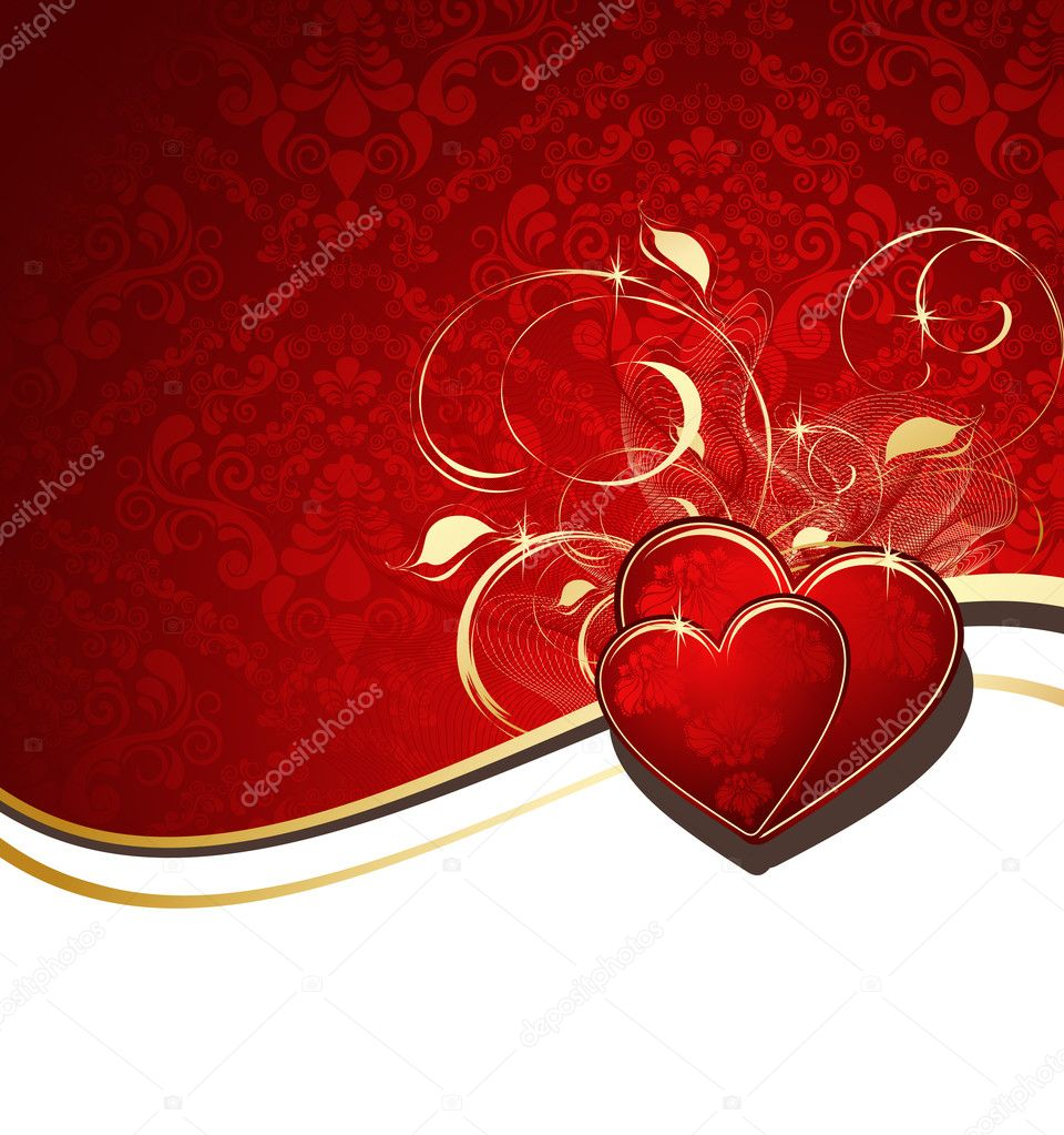 Red valentines background with hearts and ornament  Stock Vector #1561143