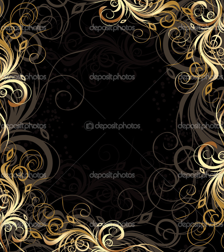 Vector black and gold floral background with pattern — Stock Vector #2518551
