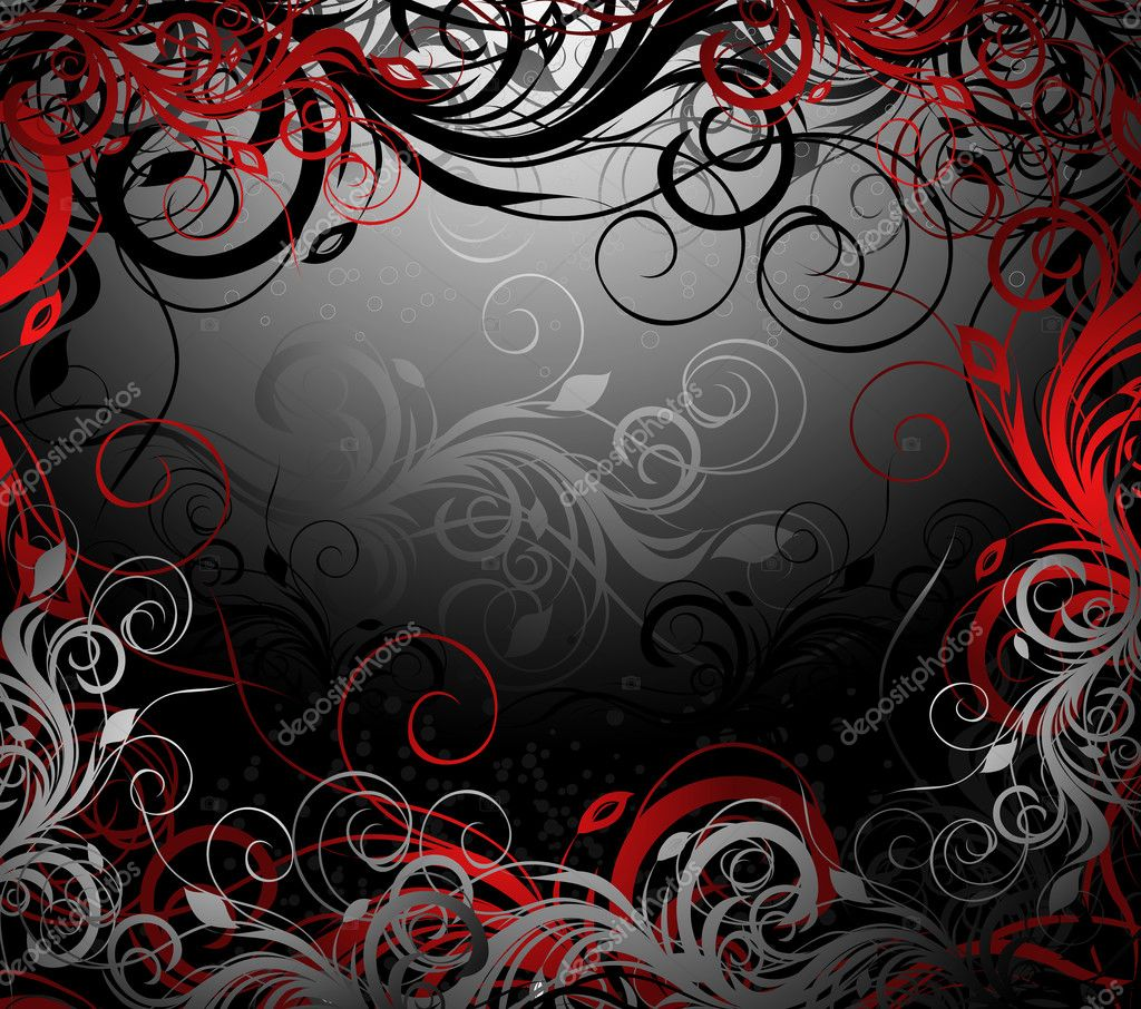 Vector black, red and gold floral background with pattern   #2518575