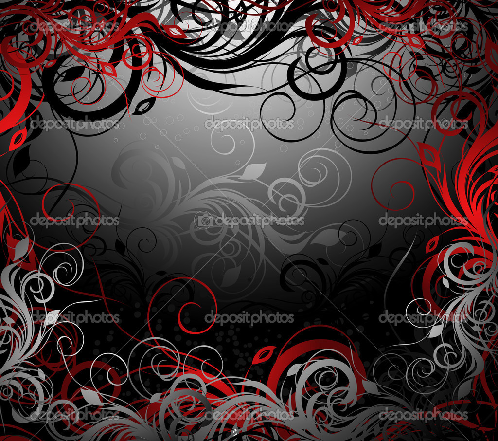 Vector black, red and gold floral background with pattern — Stok Vektör #2518575