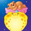 Bedtime Teddy Bear on the Moon - Imagens vectoriais em stock