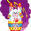 Terrible Easter Rabbit - Stock Vector