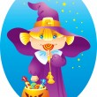 Halloween Witch Girl - Stock Vector
