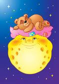 Bedtime Teddy Bear on the Moon — Stock Vector