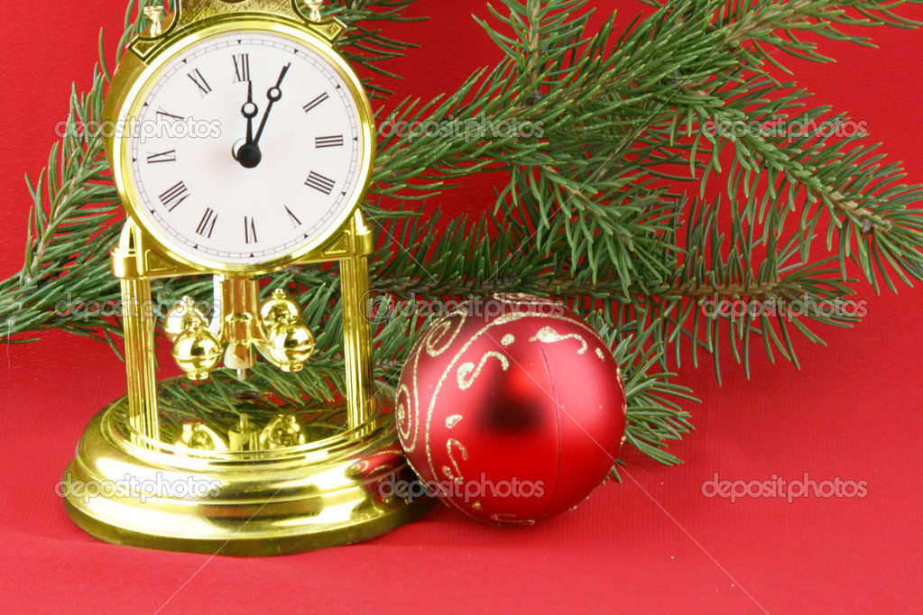 Chrismas still life with  boll and gold watch — Stock Photo #1103258