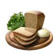 Bread cutting and onion, parsley — Stock Photo