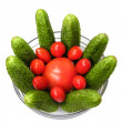 Cucumber tomato isolated — Stock Photo