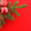 Christmas still life with red bolls — Stock Photo