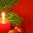 Royalty-Free Stock Photo: Christmas still life with red candles