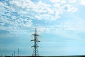 Energy:high voltage line and tower — Stock Photo