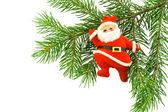 Christmas tree with santa claus decorat — Stock Photo