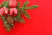 Bodegón de navidad con cápsulas rojos — Foto de Stock