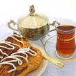 Still-life with Pastry  and tea — Stock Photo