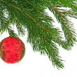 Christmas branch of fir-tree   and boll - Stock Photo