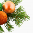 Christmas  fur-tree with bolls — Stock Photo