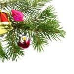 Christmas fur-tree with toy trinket — Stock Photo