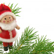Christmas  red doll with fur-tree — Foto Stock