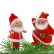 Christmas  doll toy  and fur-tree - Stock Photo
