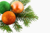 Christmas fur-tree with bolls — Stockfoto