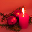 Chrismas still life with red candles and — Foto de Stock