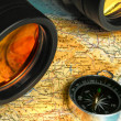 Map compass and binoculars - Stock Photo