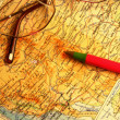 Map, glasses and pen — Stock Photo