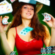 Photo of the girl with playing cards - Stock Photo