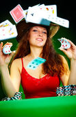 Photo of the girl with playing cards — Stock Photo